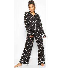 polka dot button through pyjama trouser set, black