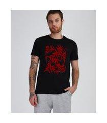 camiseta masculina slim folhagens manga curta gola careca preta