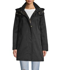 cole haan women's cotton blend hooded trench coat - black - size l