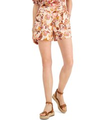 inc petite cotton printed pleated shorts, created for macy's