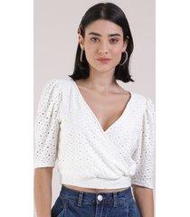 blusa de laise feminina cropped transpassada manga bufante decote v off white