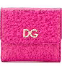 dolce & gabbana crystal embellished logo wallet - pink