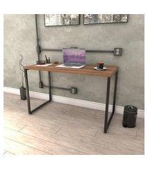 mesa escrivaninha industrial 120cm trevalla kuadra me120-e10 nogal