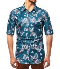 camisa de vacaciones de playa con estampado tropical bohemio de verano para hombres