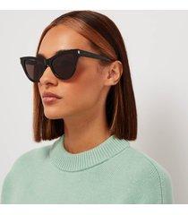 saint laurent women's sl m81 cat eye sunglasses - black/silver