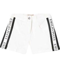 emilio pucci white denim shorts with bands