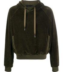 haider ackermann velour logo hoodie - green