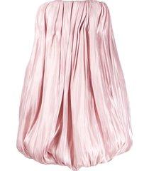 16arlington strapless satin puffball mini dress - pink