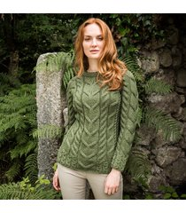 the ardara cable sweater green xl