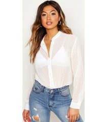 dobby chiffon button through shirt, white