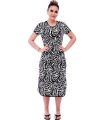 camisola ficalinda midi manga curta 3 em 1 com estampa animal print de zebra e viés preto