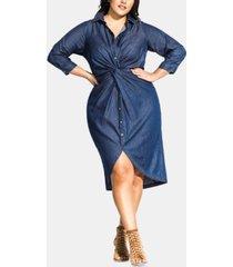 city chic trendy plus size chambray-twist dress