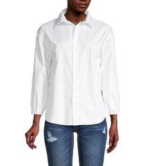 love ady women's high-low cotton shirt - white - size xs