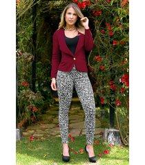 pantalón animal print outfit 1089 para mujer negro