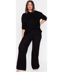 womens make knit happen plus wide-leg pants lounge set - black