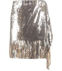 pinko ratatouille sequin and fringes mini-skirt