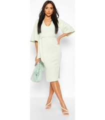 wide sleeve belted midi dress, mint
