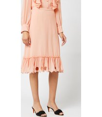 see by chloé women's frill bottom skirt - smokey pink - fr 40/uk 12 - pink