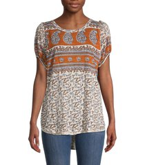 free people women's paisley & floral top - ivory combo - size m