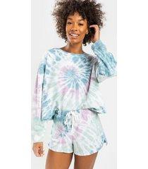 gracelyn tie-dye lounge sweat shorts - multi
