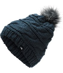 gorro the north face triple cable fur pom azul