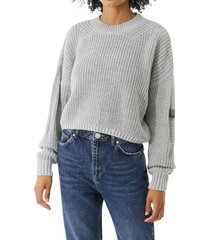 women's bdg urban outfitters shaker stitch crop sweater, size large - blue