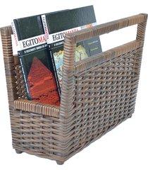 porta revisteiro cesto jornais livros fibra sintética 34x30x20- argila - kanui
