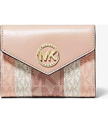 mk portafoglio a tre ante carmen medio color-block con logo - ballet multi - michael kors