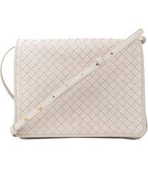 bottega veneta intrecciato leather crossbody bag white sz: m