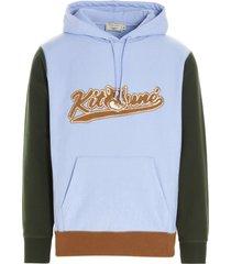 maison kitsuné varsity fox colorblock sweatshirt