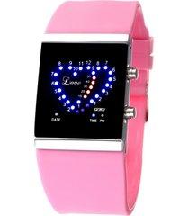 reloj en forma de corazón a prueba de agua-rosa