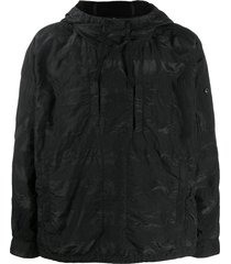 stone island shadow project crinkled shell hoodie - black