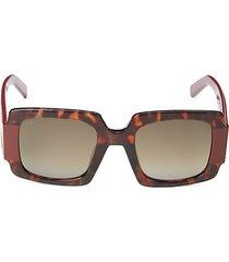 50mm faux tortoiseshell square sunglasses