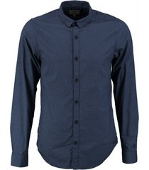 garcia donkerblauw overhemd fine cotton valt kleiner