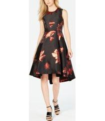 calvin klein metallic-print fit & flare dress