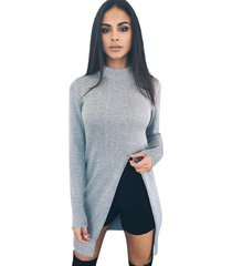 womens long sleeve split front pullover blouse jumper tops knitwear knit sweater