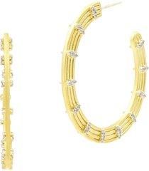 freida rothman fleur bloom empire hoop earrings in gold/white at nordstrom