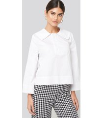 na-kd classic wide collar cotton shirt - white