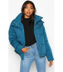 tall drawstring waist padded crop jacket, petrol