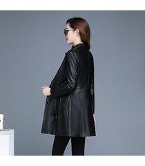 ropa de cuero para mujer señoras chaqueta de cuero mediana larga adorno