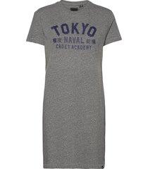 japan unit t-shirt dress knälång klänning grå superdry