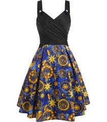 criss cross mock button flower sun star print dress