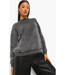 acid wash gebleekte oversized sweater met naaddetail