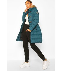 quilted faux fur hood parka, teal