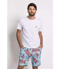 pijama manga curta acuo pijama manga curta azul