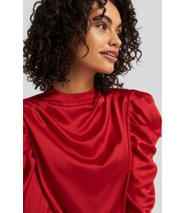 na-kd party gathered satin blouse - red