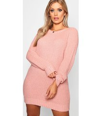 plus soft knit sweater dress, blush