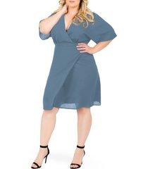 plus size women's standards & practices candice georgette wrap dress, size 3x - grey