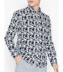 premium by jack & jones jprbruxelles print shirt l/s skjortor mörk blå