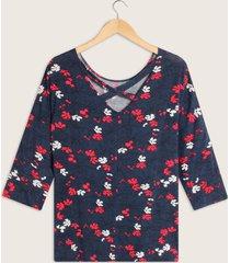 camiseta manga 3/4 escote redondo detalle en espalda-14